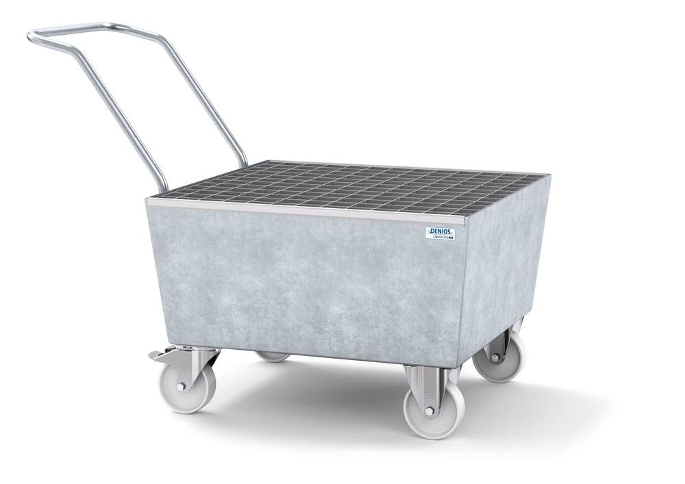 Mobile spill pallet classic-line in steel for 1 x 205 l drum, galvanised, with grid