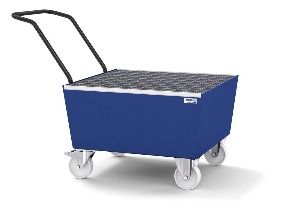 Mobile spill pallet classic-line in steel for 1 x 205 l drum, painted, with grid
