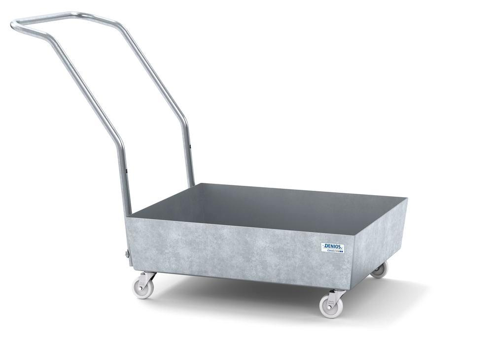 Mobile spill pallet classic-line in steel for 1 x 60 l drum, galvanised, no grid - 1
