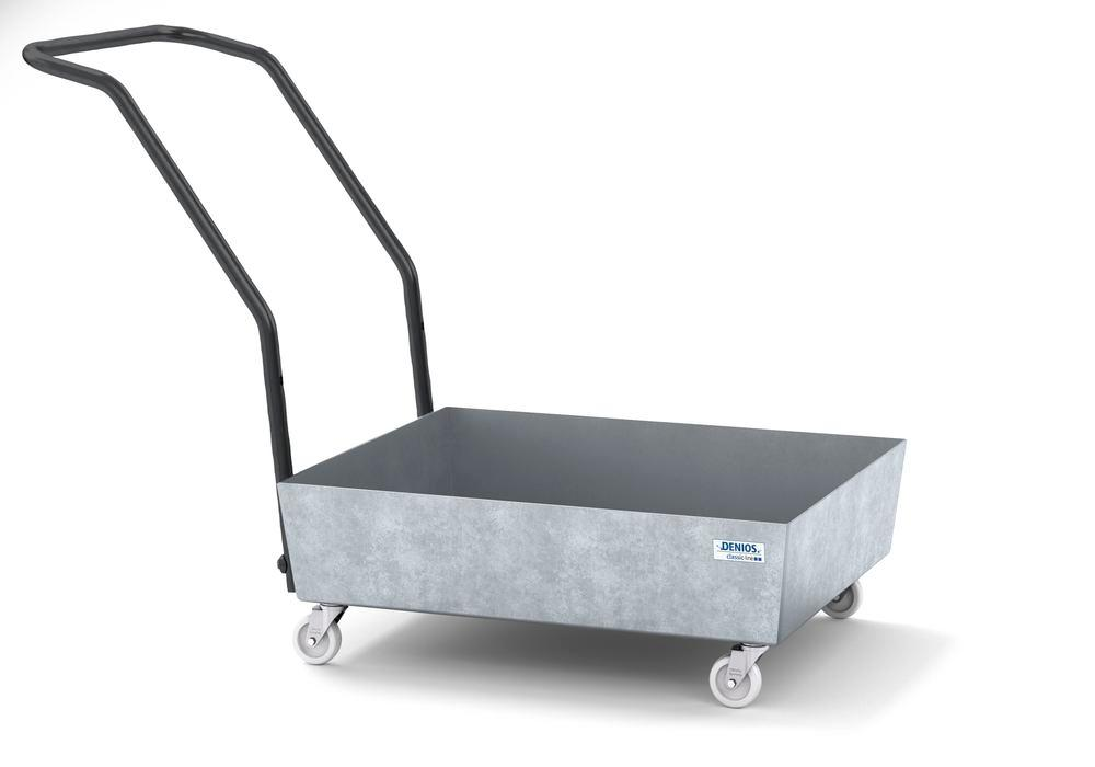 Mobile spill pallet classic-line in steel for 1 x 60 l drum, galvanised, no grid