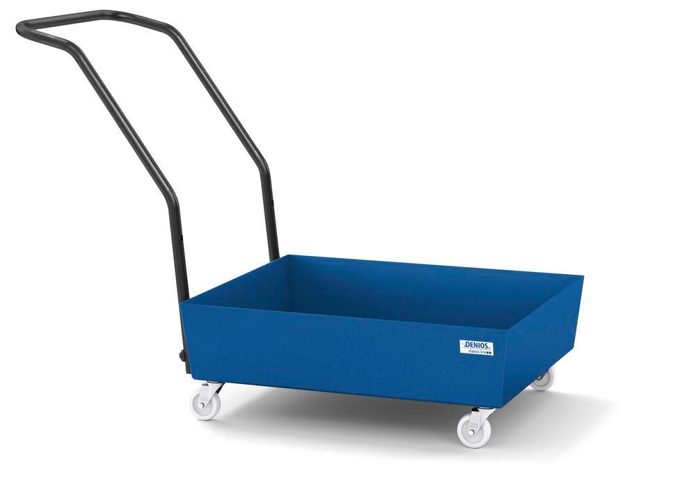 Mobile spill pallet classic-line in steel for 1 x 60 l drum, painted, no grid - 1