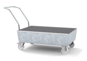 Mobile spill pallet classic-line in steel for 2 x 205 l drums, galvanised, with grid-w280px
