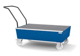 Mobile spill pallet classic-line in steel for 2 x 205 l drums, painted, with grid-w280px