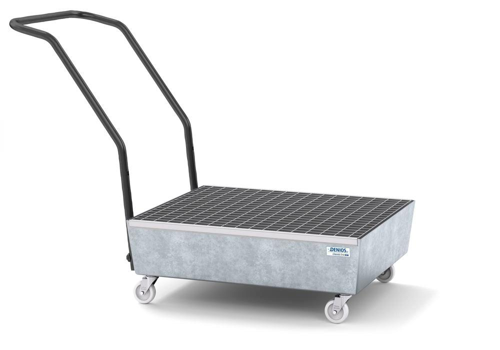 Mobile spill pallet classic-line in steel for 2 x 60 l drums, galvanised, with grid