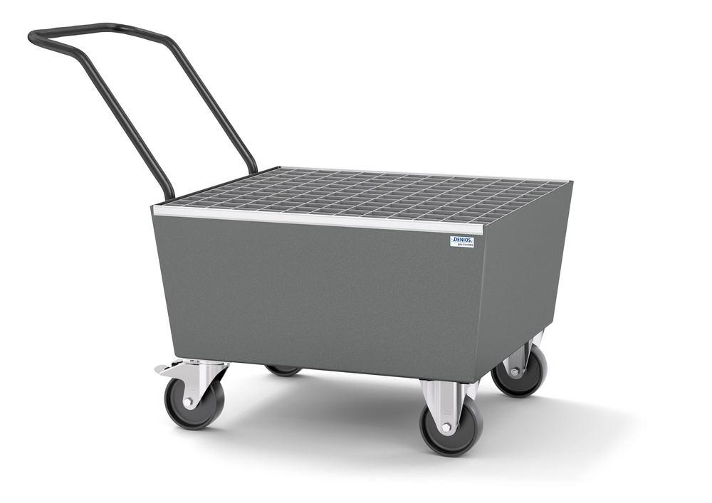 Mobile spill pallet pro-line in steel for 1 x 205 l drum, painted, with grid, elec. cond.