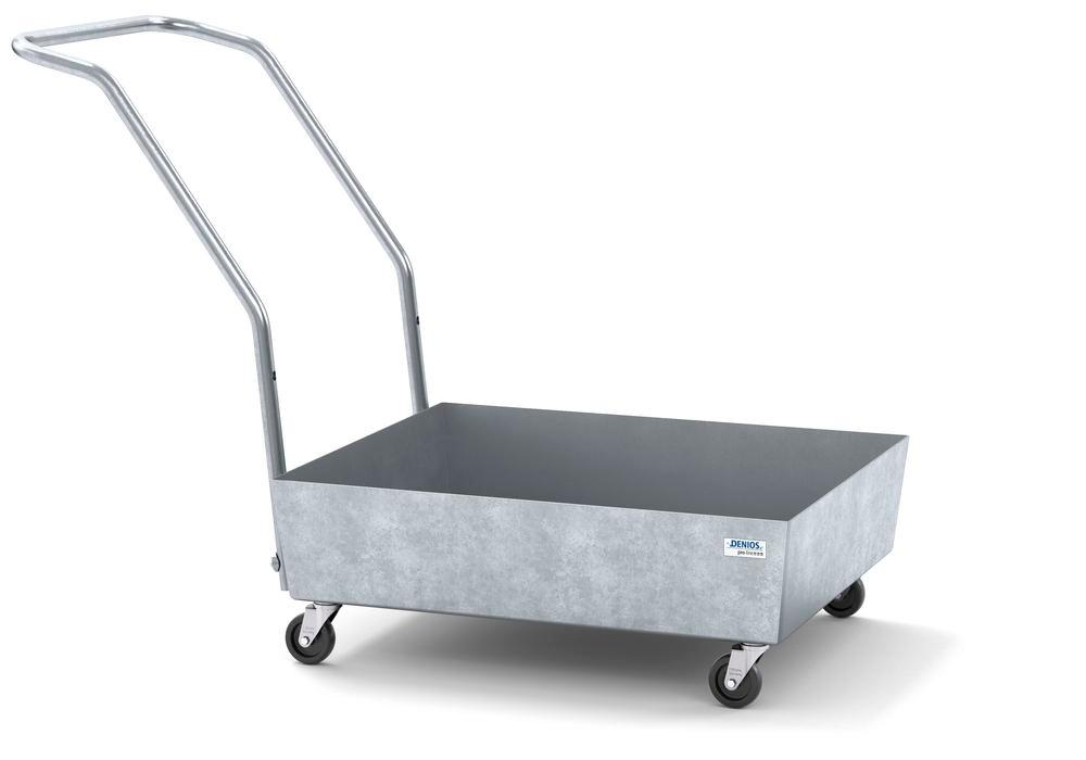 Mobile spill pallet pro-line in steel for 1 x 60 l drum, galvanised, no grid, elec. cond. - 1