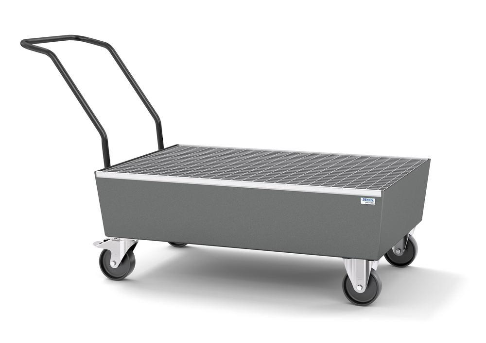 Mobile spill pallet pro-line in steel for 2 x 205 l drums, painted, with grid, elec. cond.