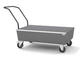 Mobile spill pallet pro-line in steel for 2 x 205 l drums, painted, with grid, elec. cond.-w280px