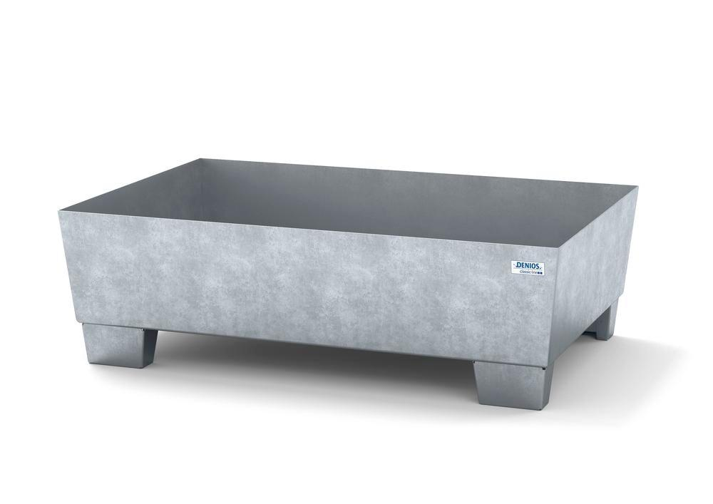 Spill pallet classic-line in steel for 1 drum galvanised accessible underneath no grid, 1236x815x355