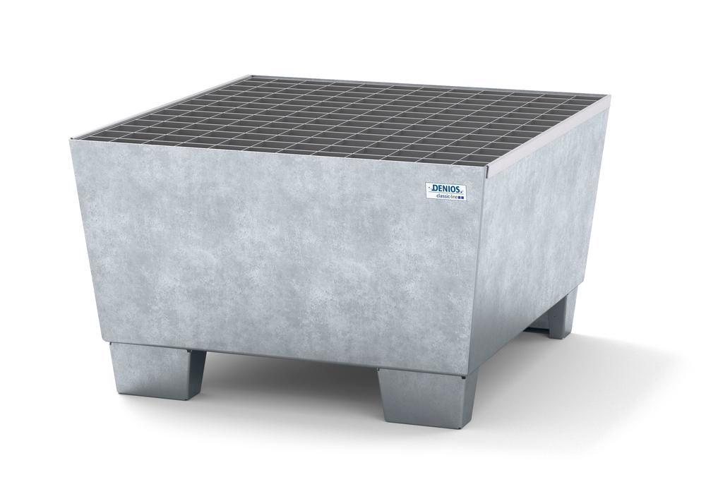 Spill pallet classic-line in steel for 1 drum galvanised accessible underneath with grid 885x815x478