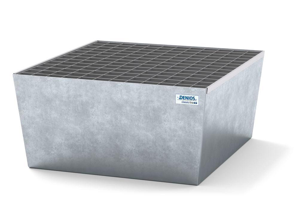 Spill pallet classic-line in steel for 1 drum, galvanised, with grid, 885x815x378