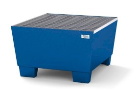 Spill pallet classic-line in steel for 1 drum, painted accessible underneath, with grid, 885x815x478-w280px