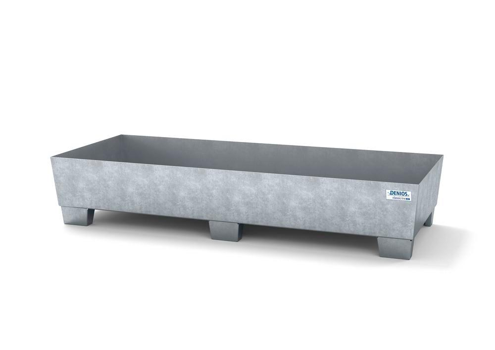 Spill pallet classic-line in steel for 2 drums, galv., accessible underneath, no grid, 815x2010x355
