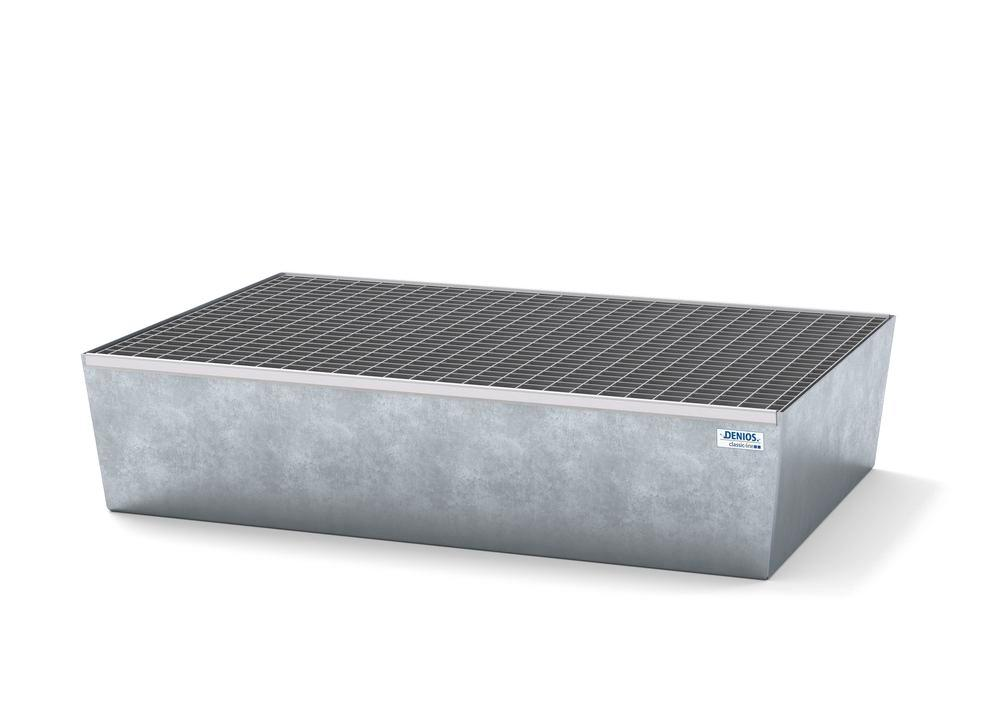 Spill pallet classic-line in steel for 2 drums, galvanised, with grid, 1236x815x255