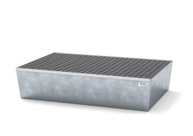 Spill pallet classic-line in steel for 2 drums, galvanised, with grid, 1236x815x255-w280px