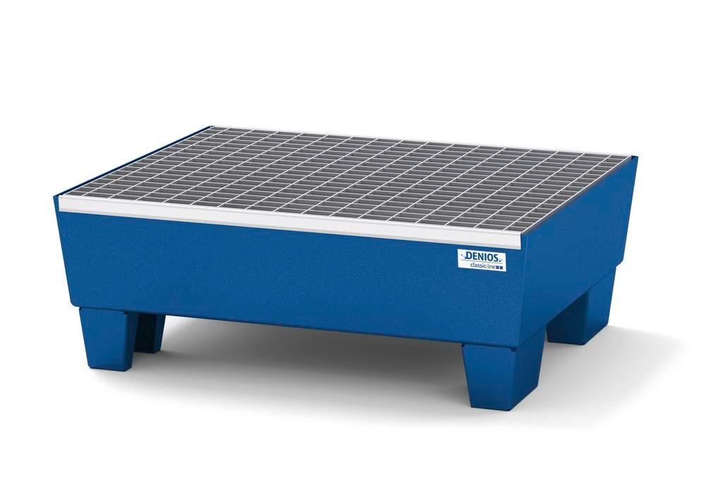 Spill pallet classic-line in steel for 2 drums, painted, access. underneath, with grid, 635x785x278 - 1