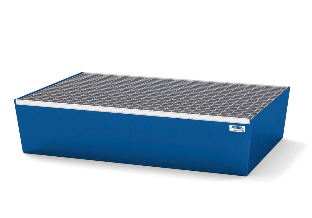 Spill pallet classic-line in steel for 2 drums, painted, with grid, 1236x815x255