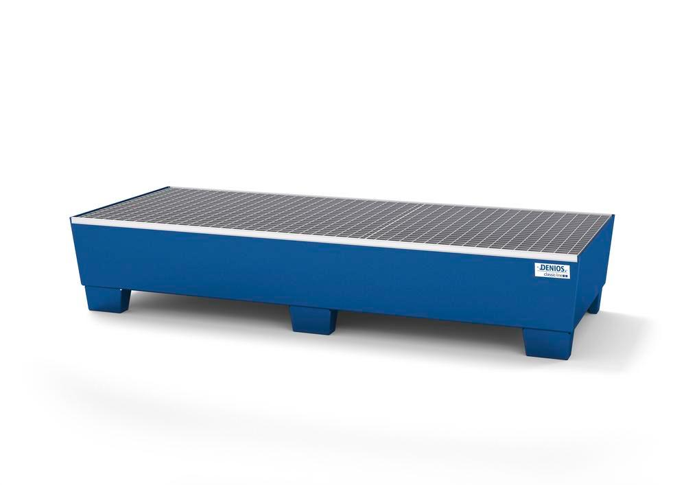Spill pallet classic-line in steel for 3 drums painted accessible underneath with grid, 815x2010x355