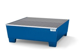 Spill pallet classic-line in steel for 4 drums, painted, access underneath, with grid, 1240x1210x430-w280px