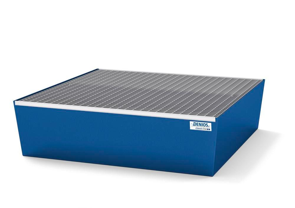Spill pallet classic-line in steel for 4 drums, painted, with grid, 1240x1210x330