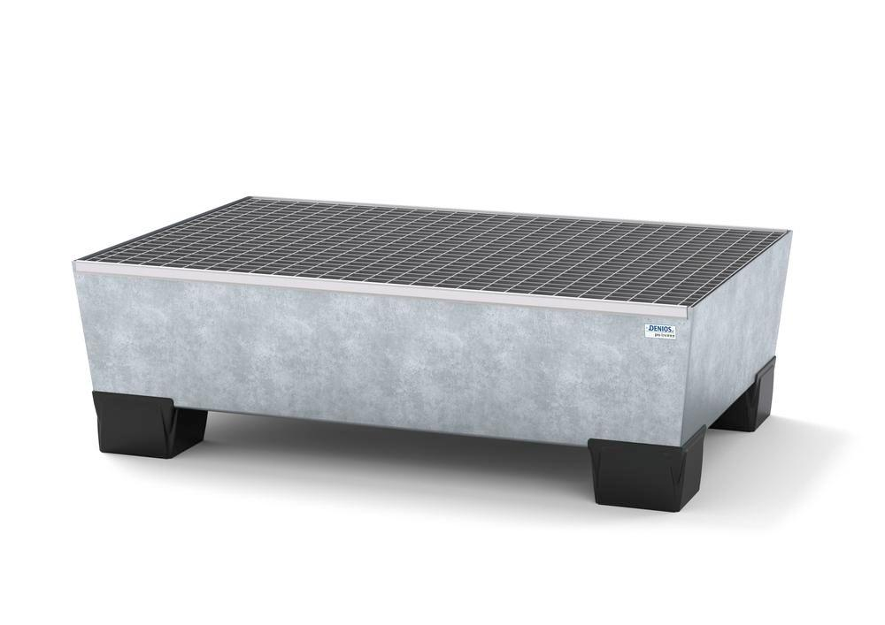 Spill pallet pro-line in steel for 2 drums, galvanised accessible underneath with grid, 1236x815x355