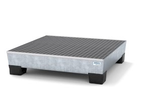 Spill pallet pro-line in steel for 4 drums, galvanised accessible underneath with grid, 1236x1210x29-w280px