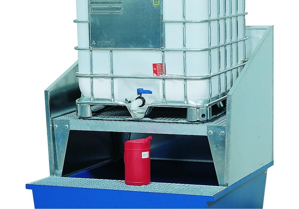 Add on splashguard wall, galvanised, for spill pallets with a width of 1120 mm