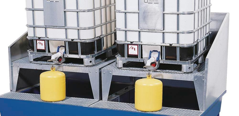 Add on splashguard wall, galvanised, for spill pallets with a width of 2200 mm