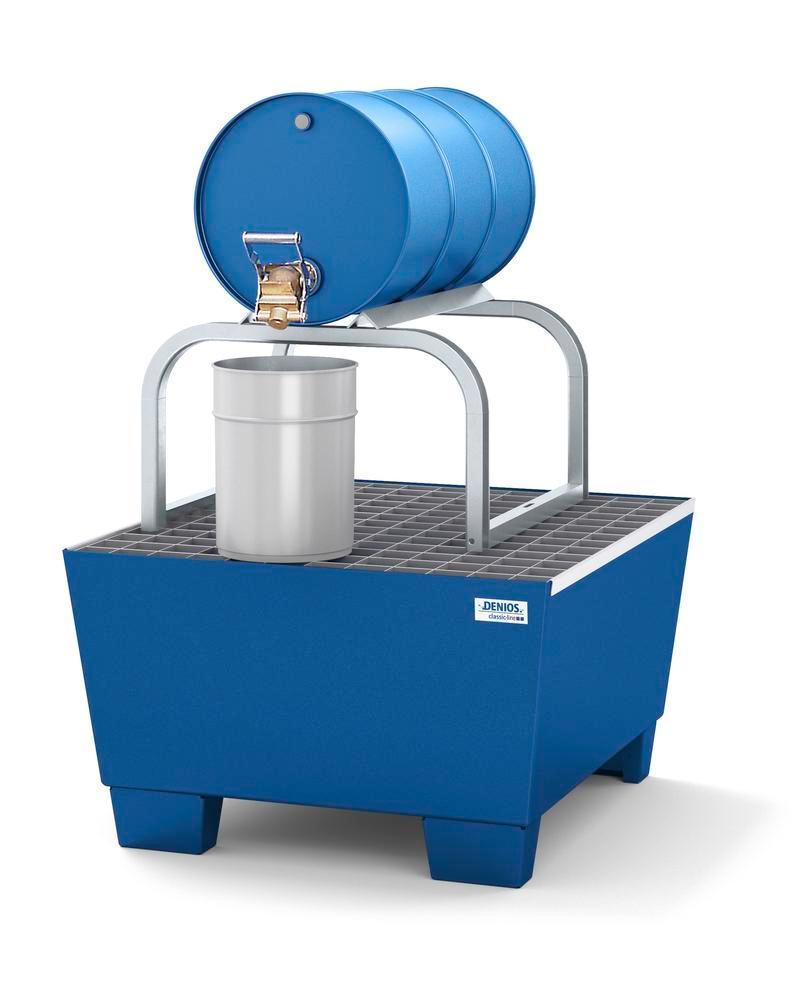 Disp. station classic-line in steel for 1 x 60 l drum, painted with galvanised drum support, H = 860 - 2