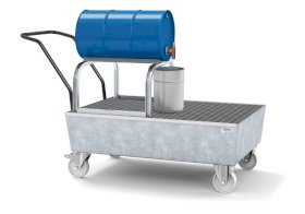 Mobile spill pallet classic-line in steel for 1 x 205 l drum, galvanised, with grid and drum support-w280px