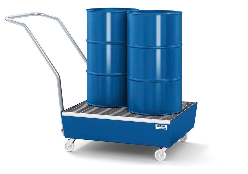 Mobile spill pallet classic-line in steel for 2 x 60 l drums, painted, with grid