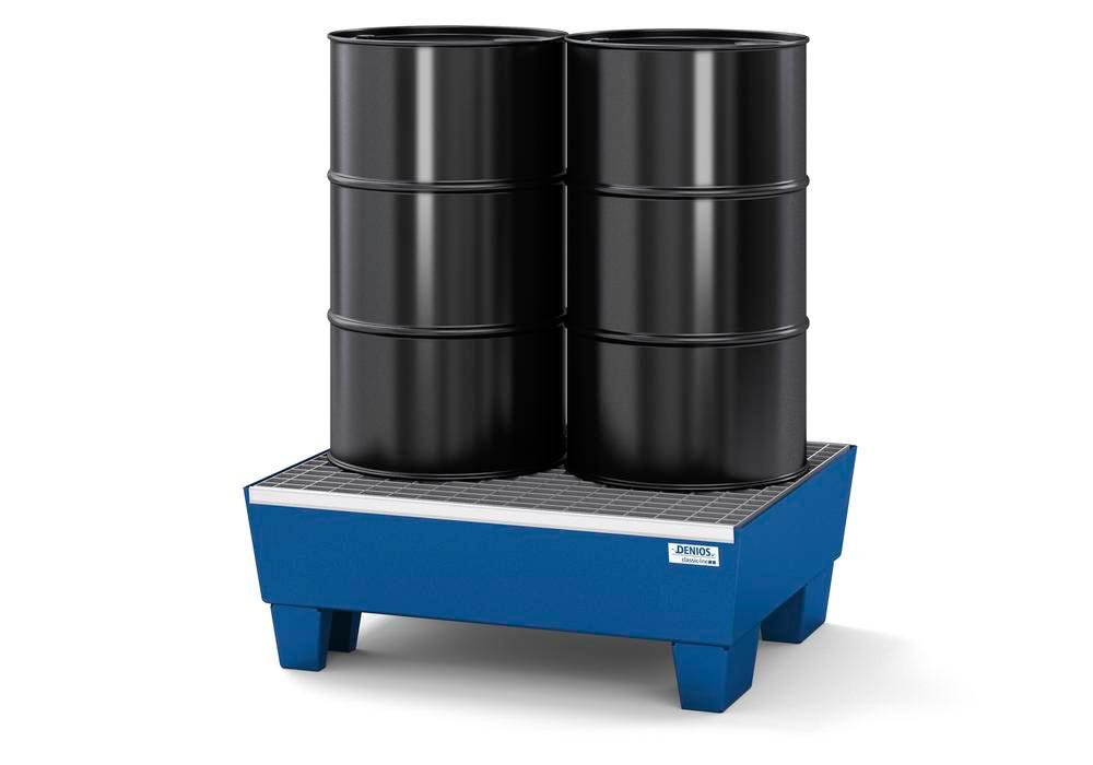 Spill pallet classic-line in steel for 2 drums, painted, access. underneath, with grid, 635x785x278
