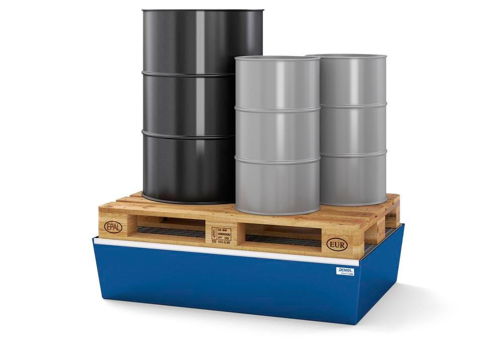 Spill pallet classic-line in steel for 2 drums, painted, with grid, 1236x815x255 - 2