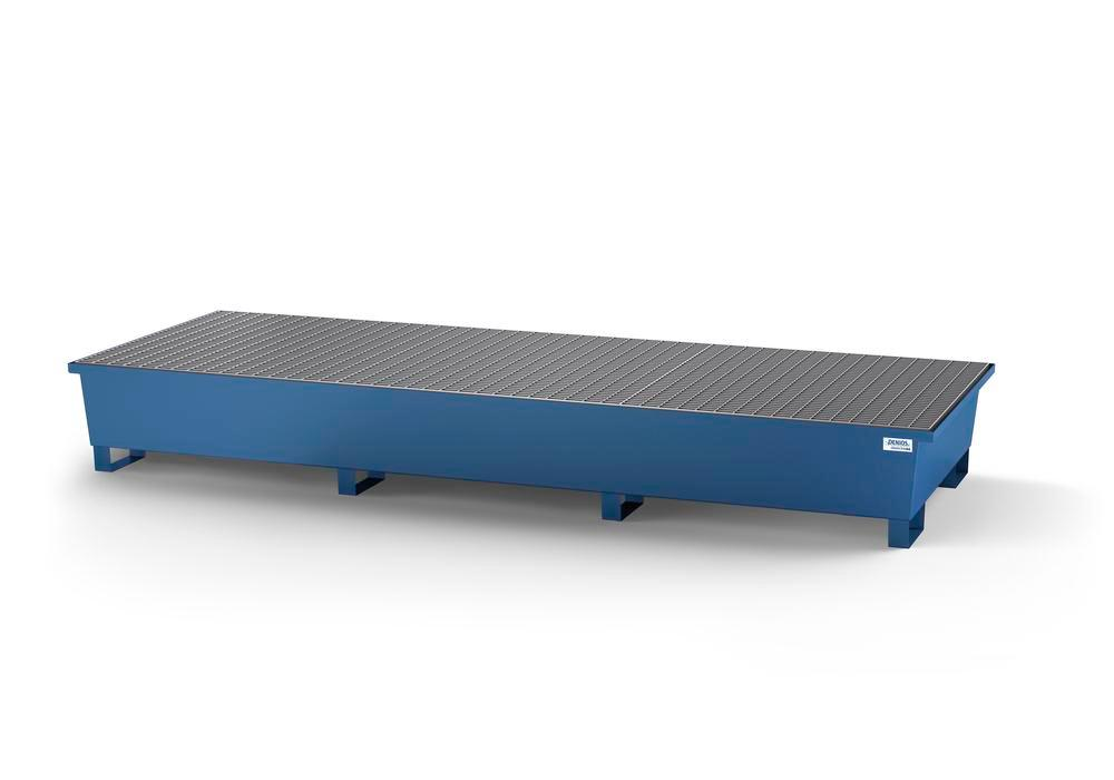 Spill pallet classic-line in steel for 3 IBC, painted, with 3 grids