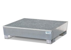 Spill pallet classic-line in steel for 4 drums, galv., access. underneath with grid, 1300x1380x390-w280px
