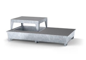 Spill pallet classic-line in steel with disp. area for 2 IBCs, galv., platform and grid-w280px