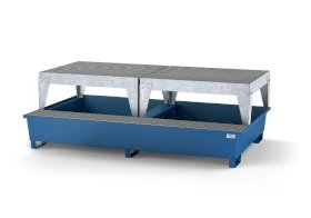 Spill pallet classic-line in steel with disp. area for 2 IBCs, painted, 2 dispensing platforms-w280px