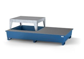 Spill pallet classic-line in steel with disp. area for 2 IBCs, painted, platform and grid-w280px