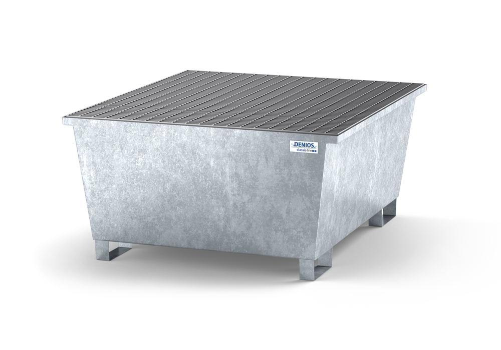 Spill pallet classic-line in steel with dispensing area for 1 IBC, galvanised, grid