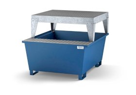 Spill pallet classic-line in steel with dispensing area for 1 IBC, painted, dispensing platform-w280px