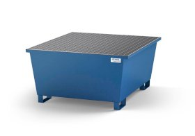 Spill pallet classic-line in steel with dispensing area for 1 IBC, painted, grid-w280px