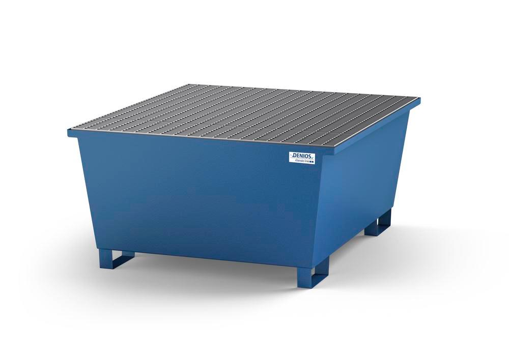 Spill pallet classic-line in steel with dispensing area for 1 IBC, painted, with grid