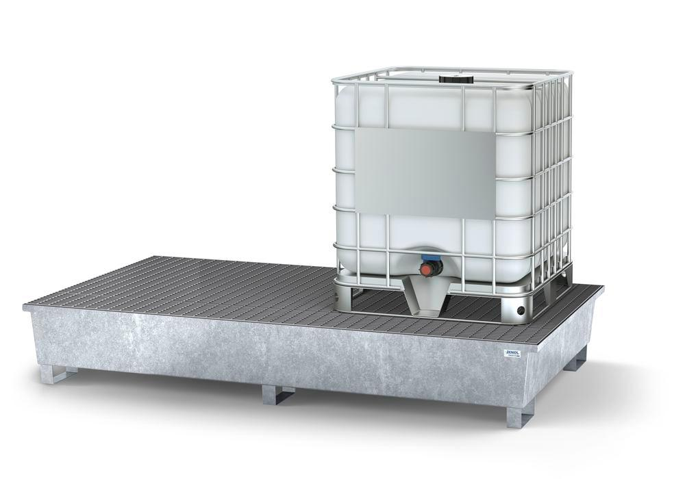 Spill pallet classic-line in steel with dispensing area for 2 IBCs, galvanised, 2 grids