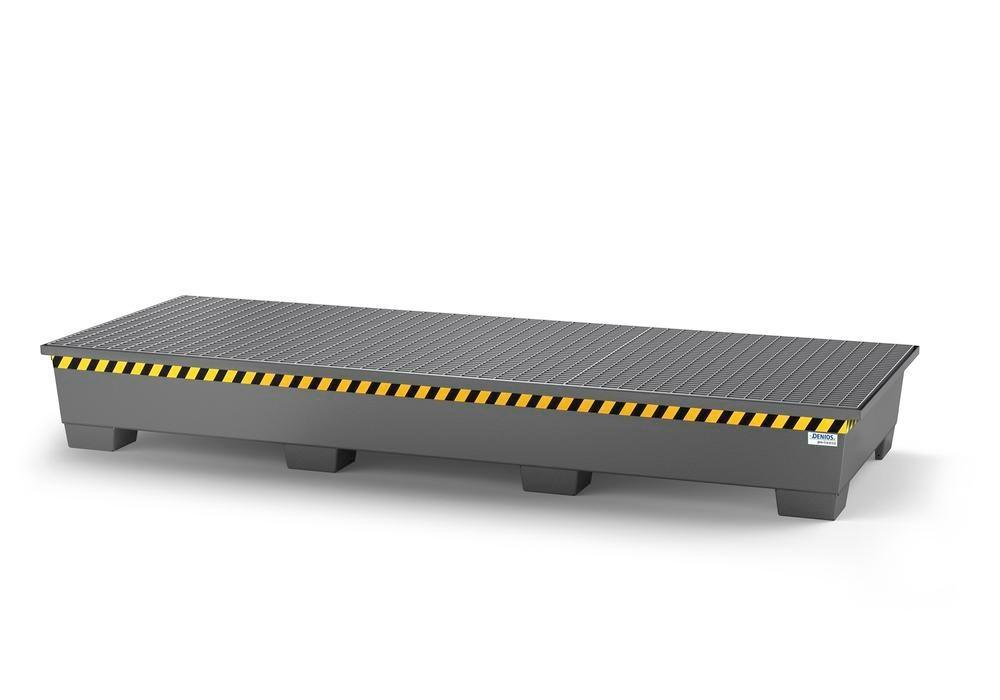 Spill pallet pro-line in steel for 3 IBCs, painted, with 3 grids
