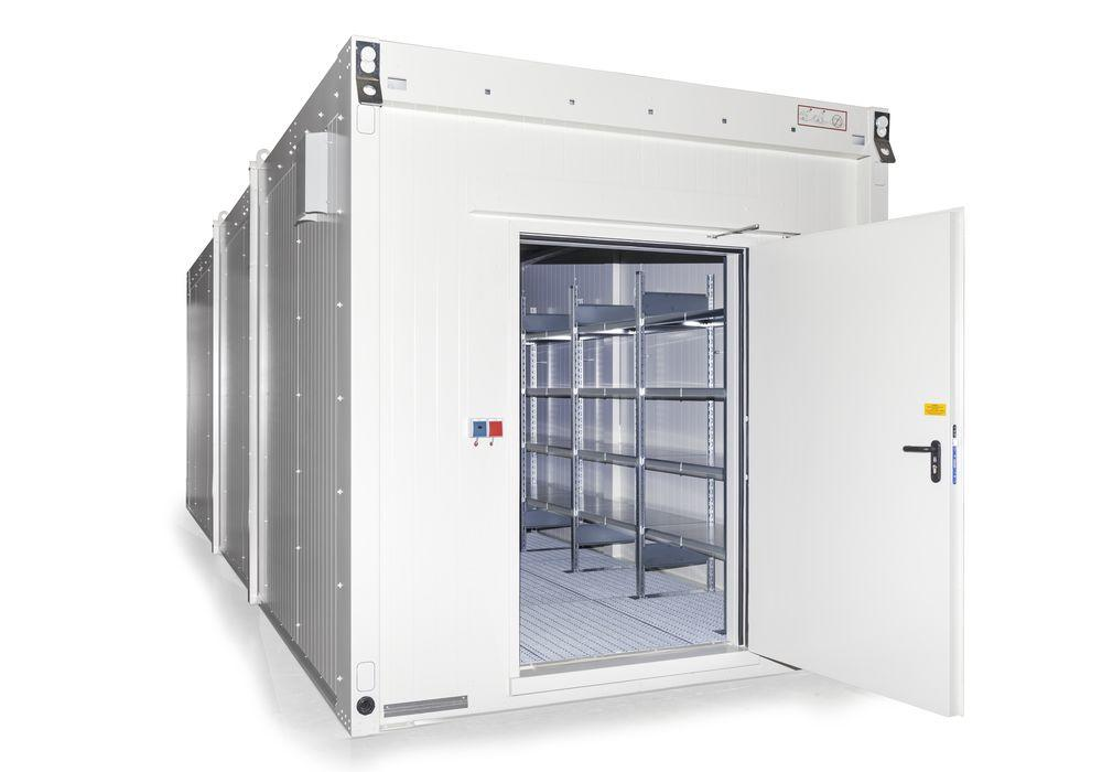 Walk-in fire-rated storage container WFP for lithium energy storage devices