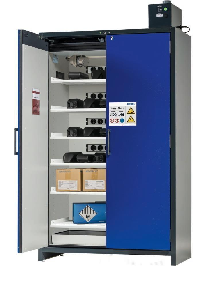 asecos Lithium-ion battery charging cabinet SmartStore-UK, 6 shelves, W 1200 mm
