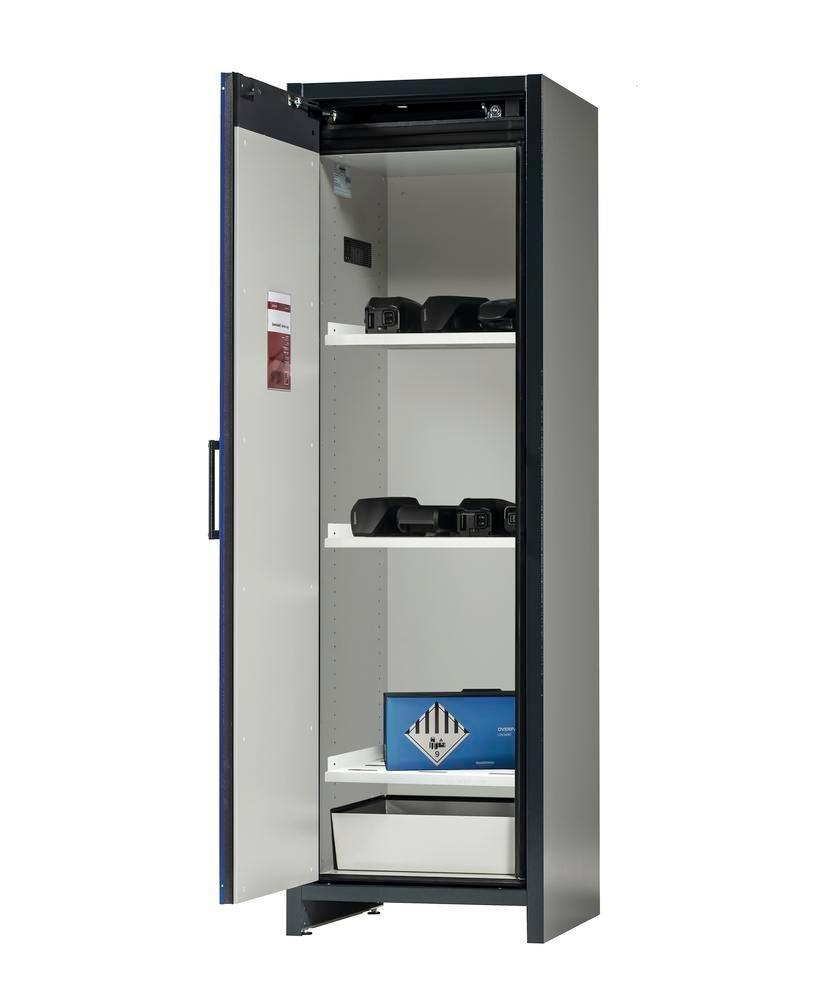 asecos Lithium-ion battery storage cabinet SafeStore, 3 shelves, W 600 mm