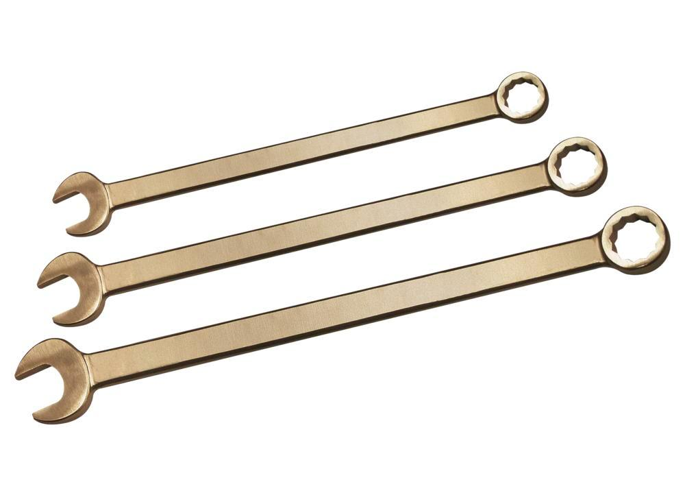 Combi spanner set, 10 piece, extra long. SW 10-32 mm, special bronze, spark-free, for Ex zones