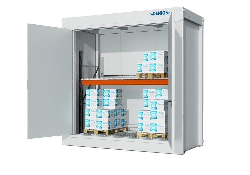 Fire-rated storage container RFP Li-Ion for lithium energy storage devices, store with shelving