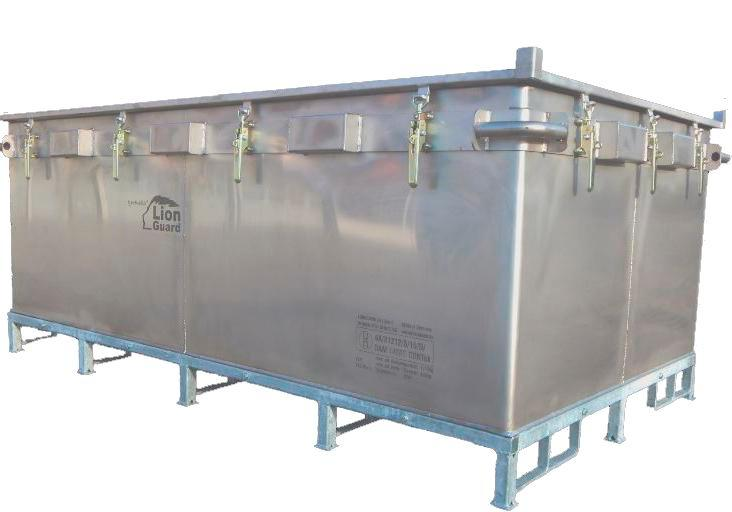 Lithium-ion battery transport box in stainless steel, 2603 l, XXL-Box, filling PyroBubbles®